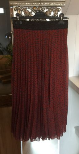 Pleated Maxi Skirt - Animal Print - Burnt Sienna
